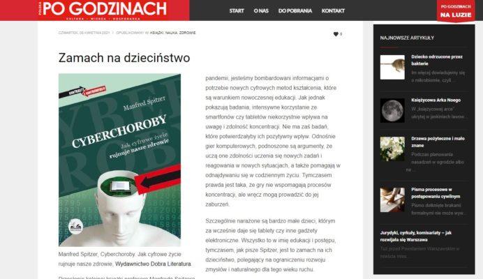 """Gorąco polecamy artykuł gazety""""POLSKA PO GODZINACH"""", dotyczący książki Manfreda Spitzera - """"Cyberchoroby""""."""